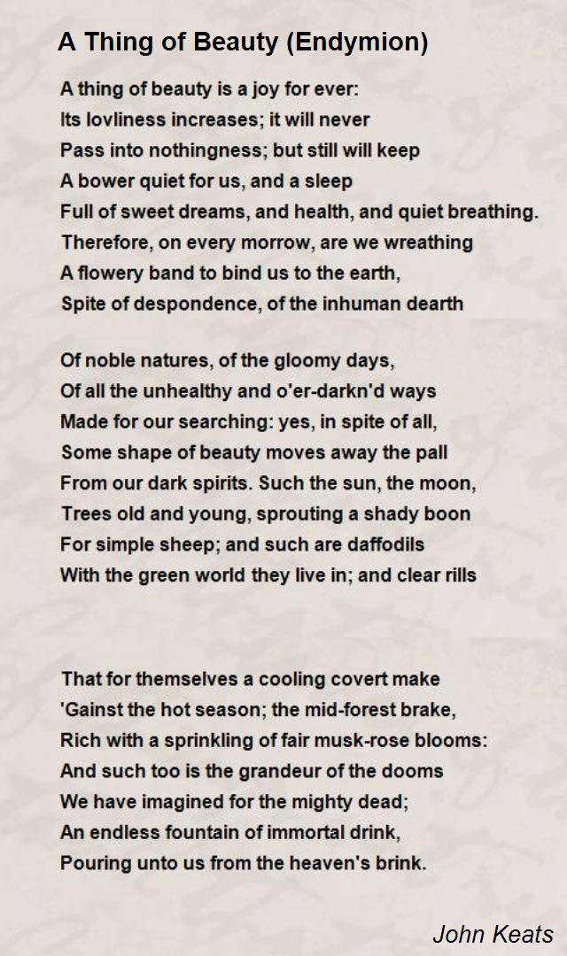 A Thing Of Beauty Endymion Poem By John Keats Poem