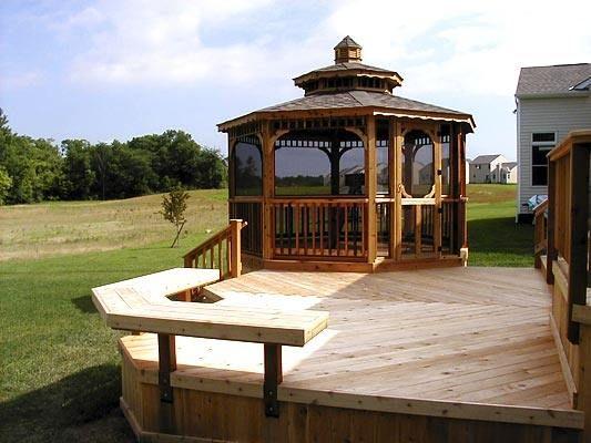 Gazebos For Decks Cedar Deck With Screened Gazebo