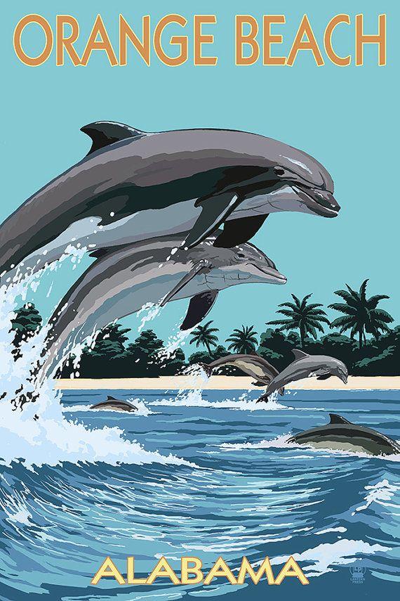 Orange Beach Alabama Dolphins Jumping Art Prints