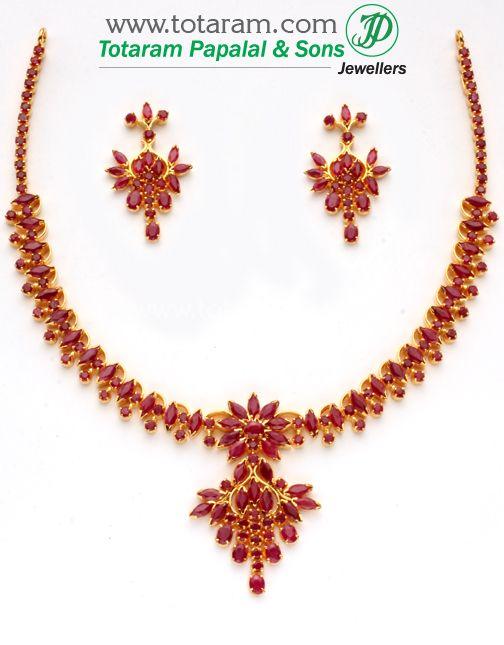 22K Gold Rubies Necklace Earrings Set Totaram Jewelers Buy