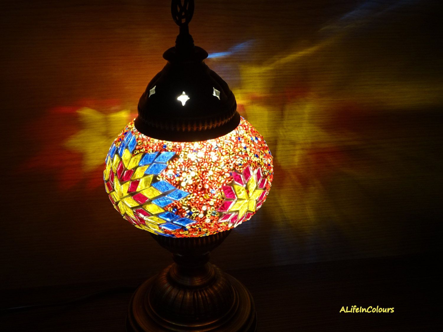 Authentic Handmade Unique Decorative Turkish Colourful Glass Mosaic Table  Lamp, Bedside Bedroom Lamp, Night