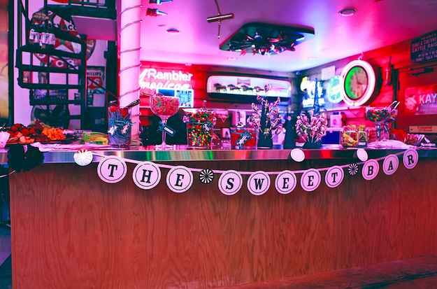 A bar fully stocked with sweets: