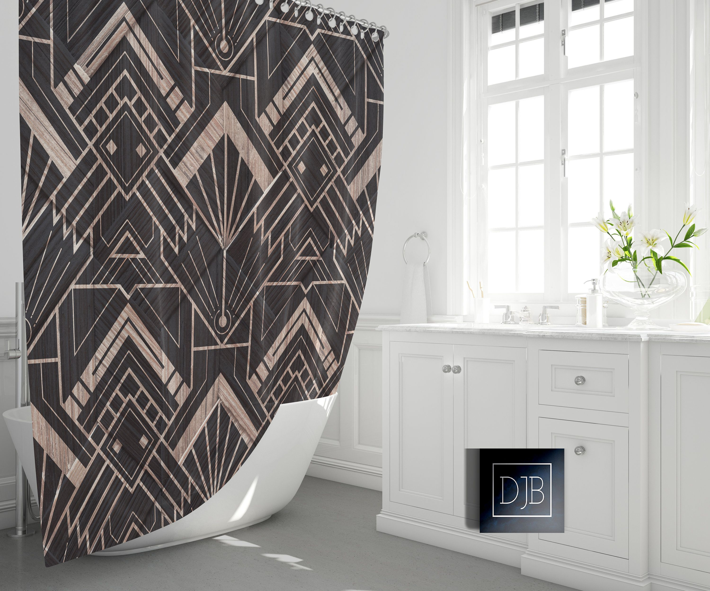 Modern Art Deco Shower Curtain Geometric Pattern Bathroom Etsy