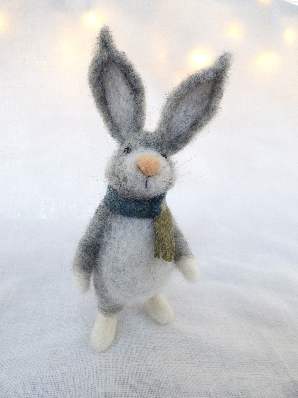 Needle Felted Hare , Wool Scottish Hare , Waldorf, Christmas gift, needle felt animal, Christmas decor, needle felt miniature, home decor #needlefeltedanimals
