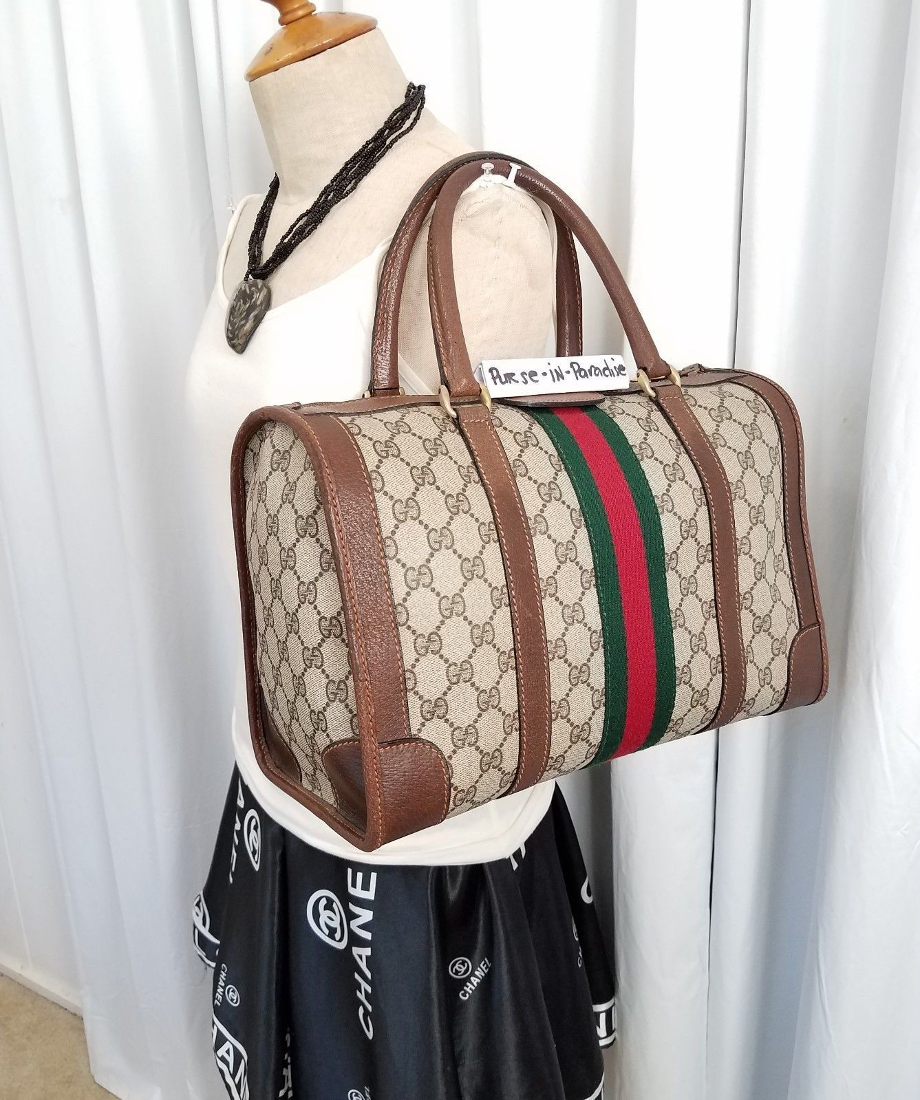 c3f068b2cf99 Vintage Gucci Satchel Doctors Bag Purse 80s GG onogram Big vinyl VGC  #80sbagspurses