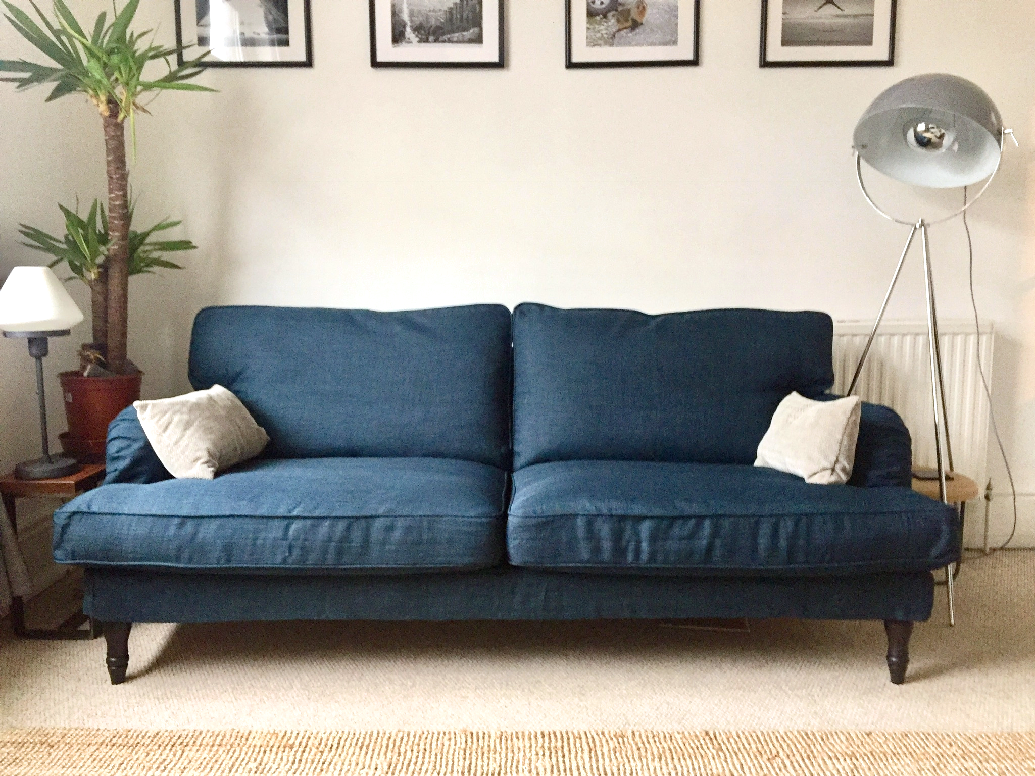 Ikea Stocksund Sofa In Kino Denim Blue Couch Covers By Comfort Works Click To Buy Slipcovers In The Same Look G Stocksund Sofa Ikea Blue Sofa Sofa Covers