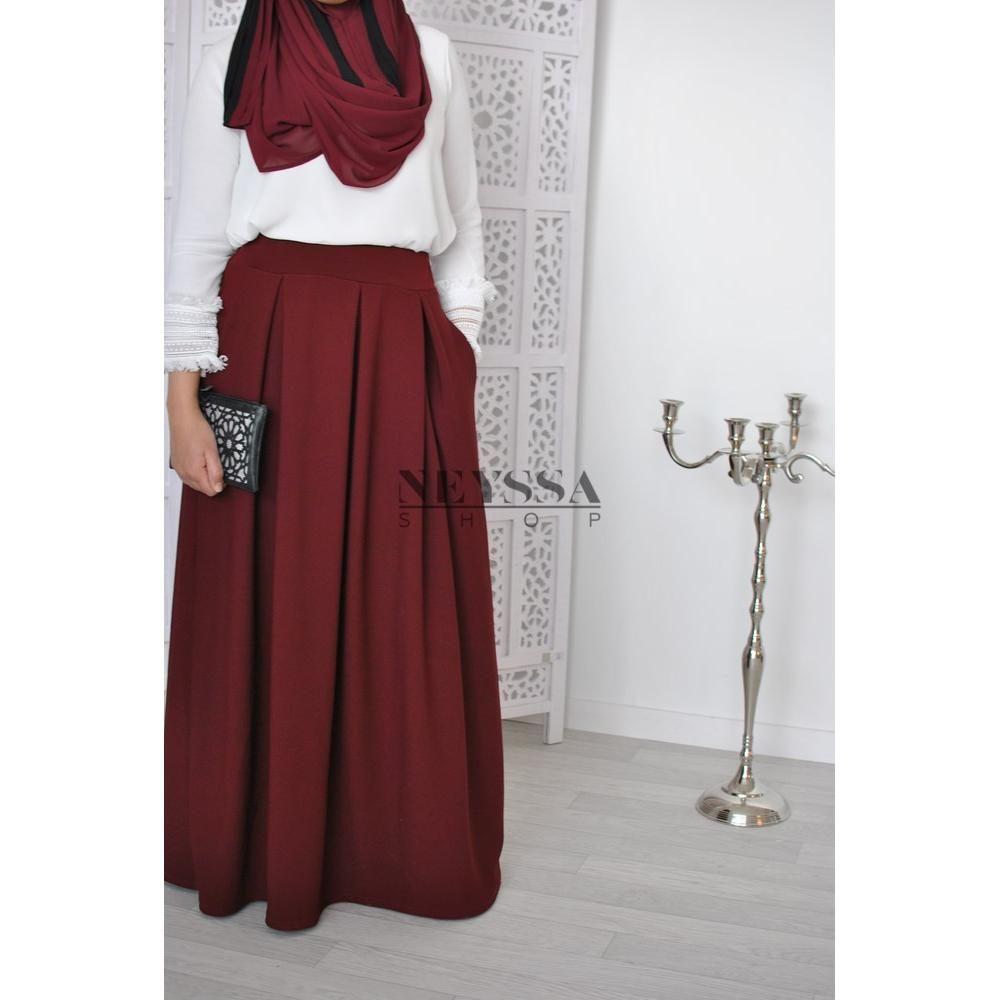 en soldes 72202 558d4 jupe taille haute modest fashion islamique jupe large ...