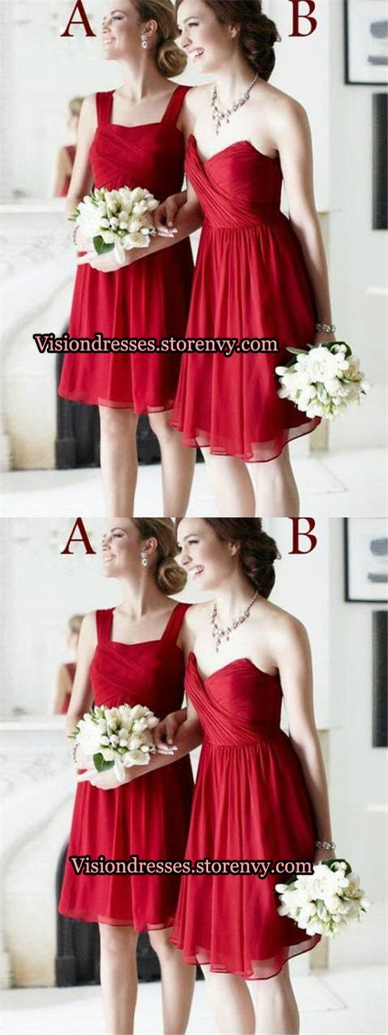 Mismatched red square sweetheart neckline bridesmaid dresses short