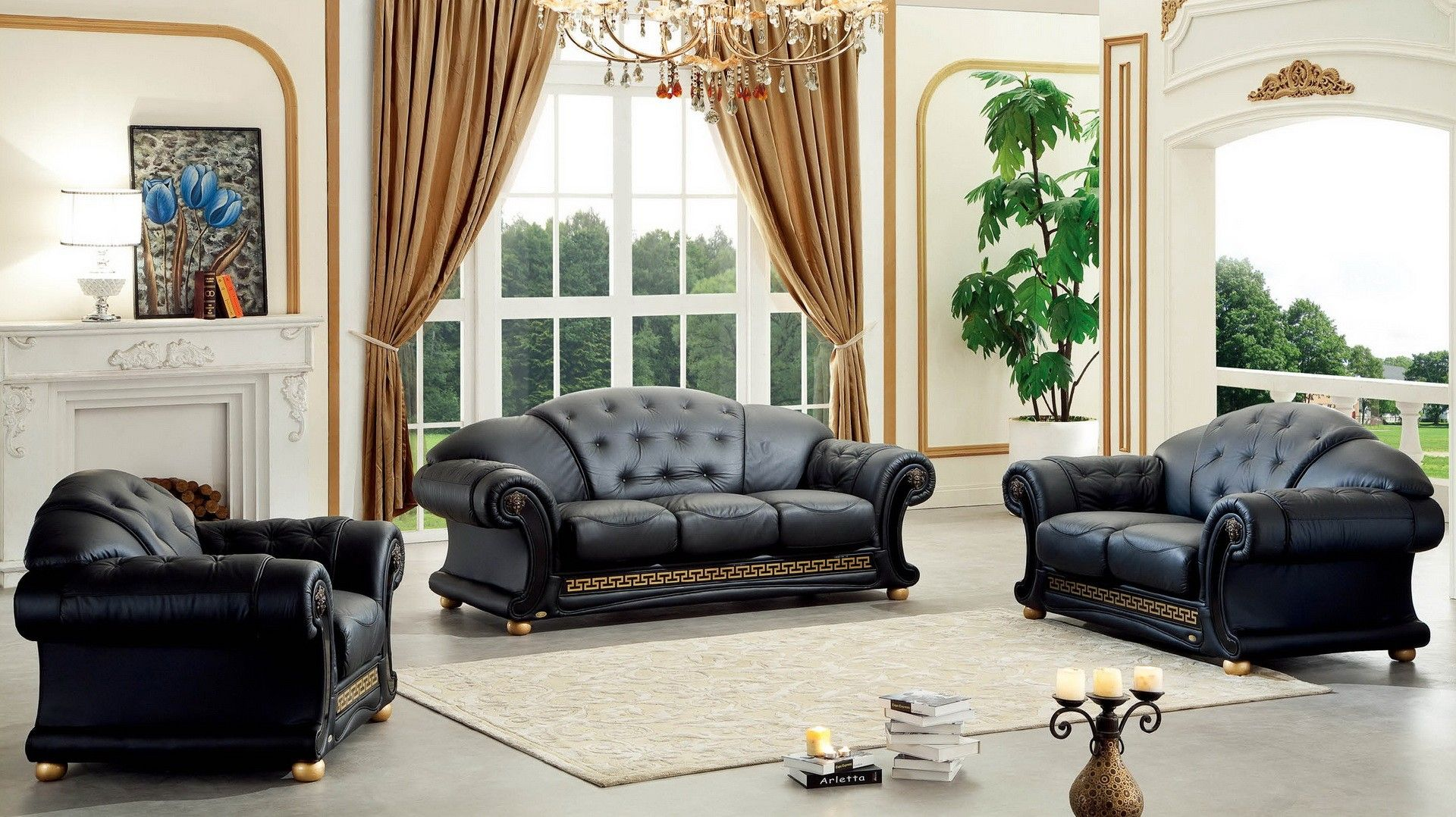 Esf Versace Sofa Loveseat Chair Pay Attention On Amazing Living Room Set In Art Deco Style Living Room Sofa Set Living Room Leather Luxury Sofa Living Room