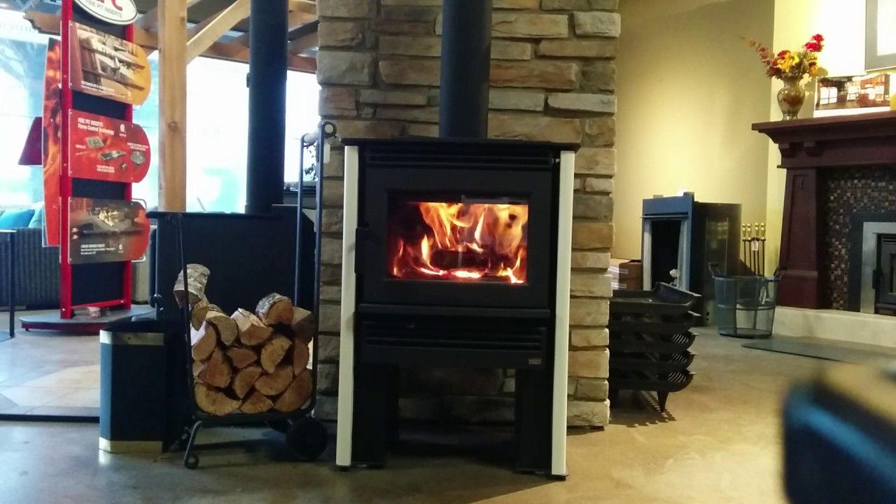Pacific Energy Neo 1 6 Woodstove Burning Living Room With Fireplace Rooms Fireplaces