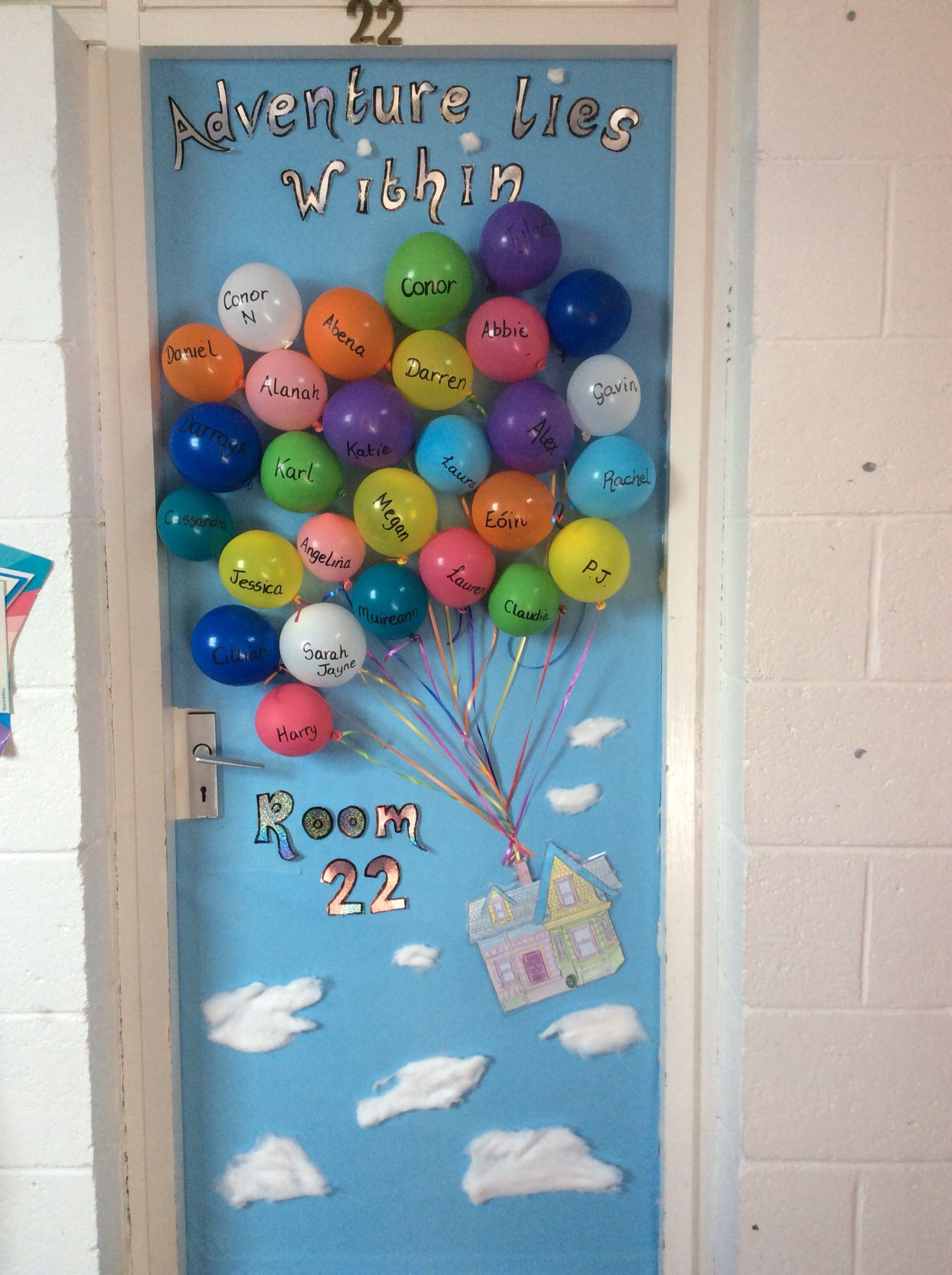 My Disney Up themed classroom door display for this term