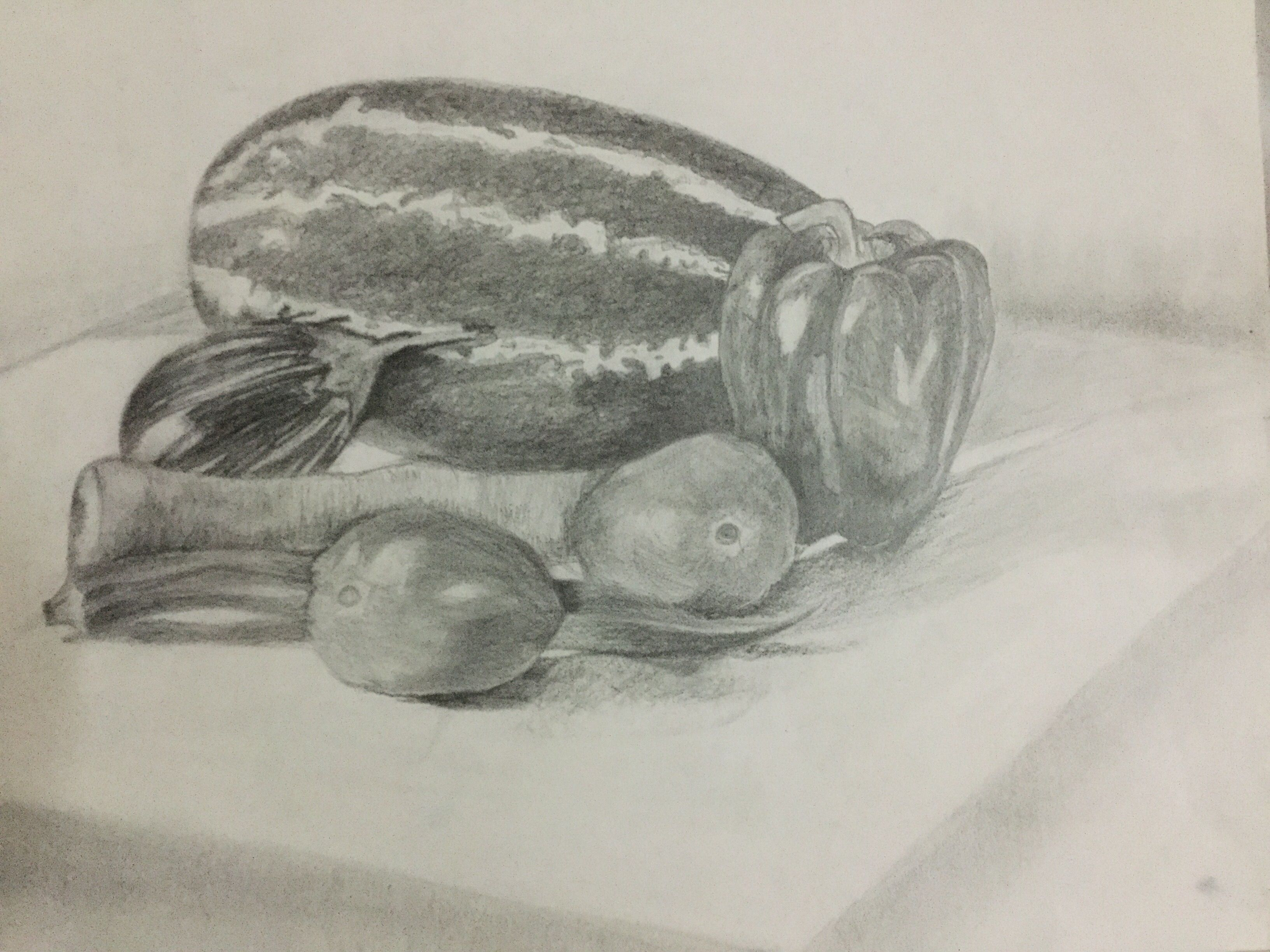 Vegetables pencil shading