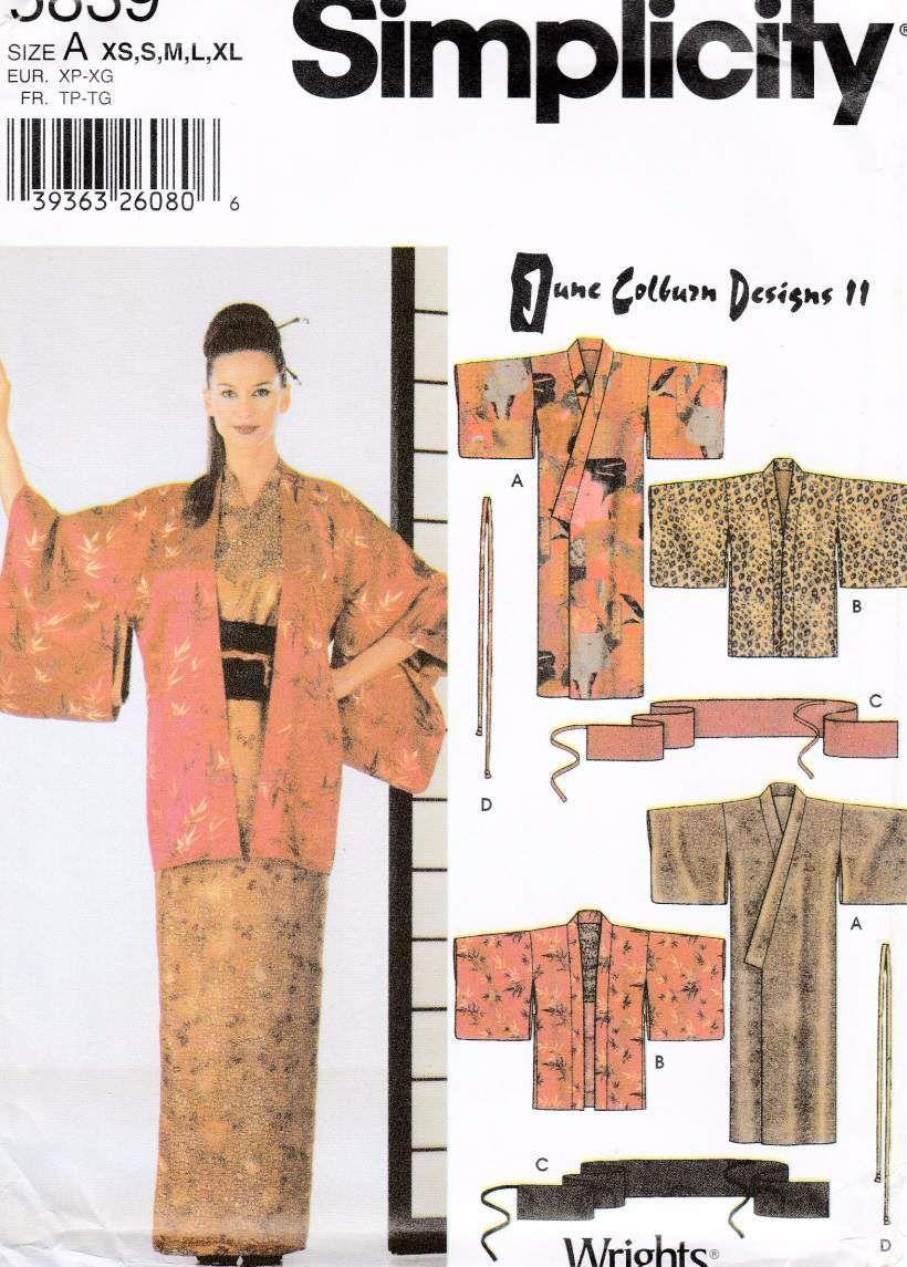 Kimono Hoari Obi Japanese Sewing Pattern Jean Colburn Simplicity ...