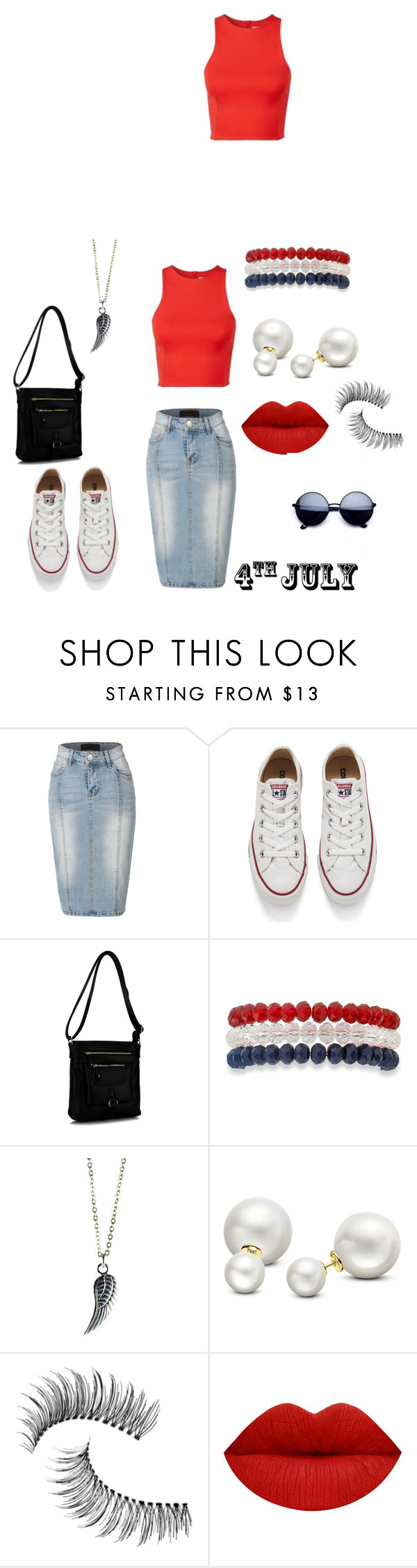 """4th July"" by ninajae ❤ liked on Polyvore featuring LE3NO, Converse, Rimen & Co., Kim Rogers, Allurez and Trish McEvoy"