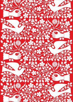 Alexander Girard - Dove and Hand wrapping paper