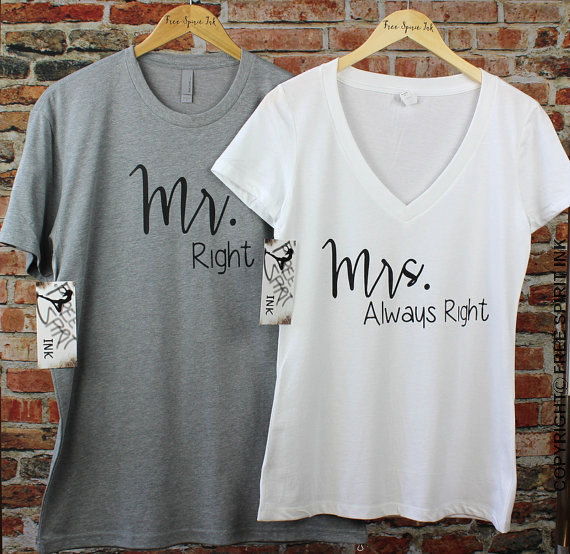 eaea0bc1 MR Right and MRS Always Right Shirt Set. Wedding Gift. Couples Shirts. Mr.  and Mrs. T-Shirts. Honeymoon Shirts. Hubby Tee. Wifey Tee by FreeSpiritInk  on ...