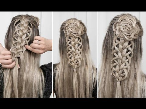 Loop Braid Combo Part 1 Flower Rosette Diy Youtube Braided Hairstyles Braided Hairstyles Easy Easy Braids