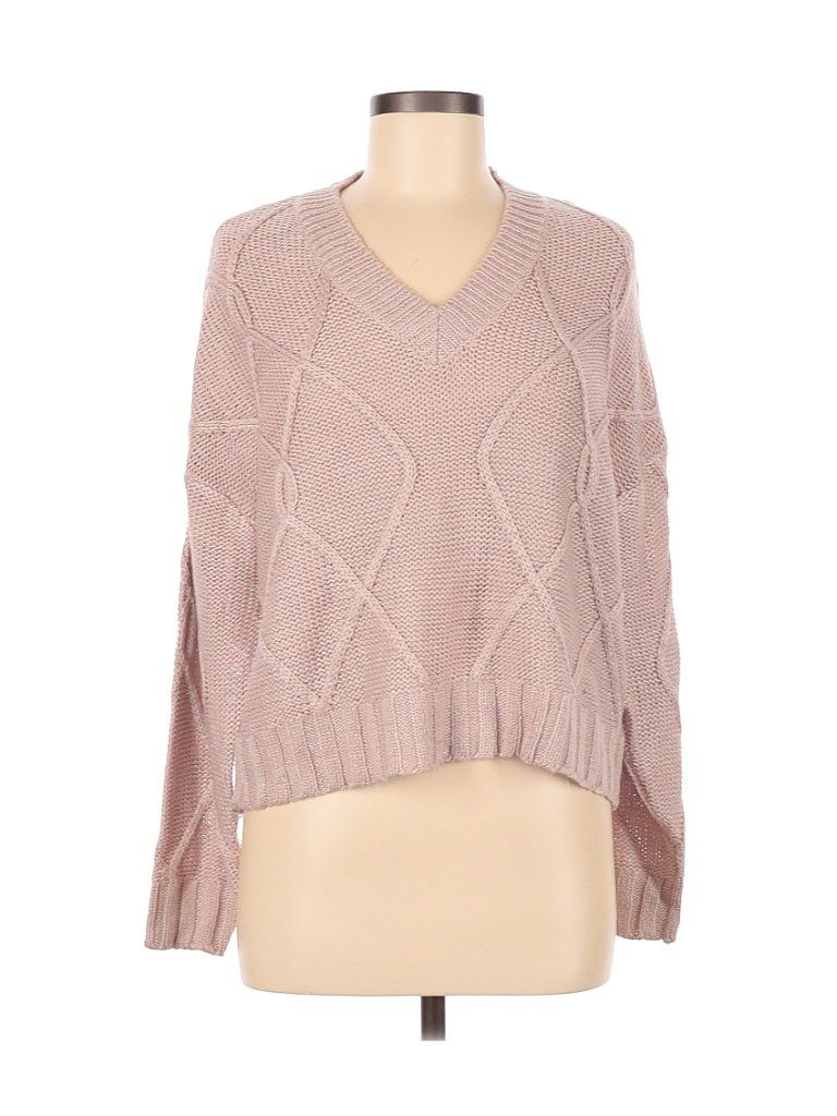 RD Style Pullover Sweater: Pink Color Block Tops – Size Medium