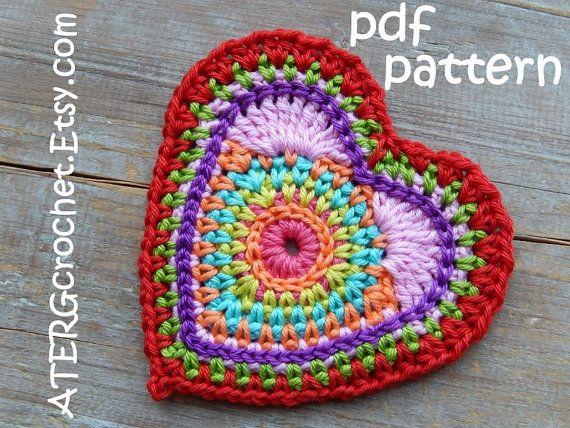 Crochet pattern HEART \'color burst\' by ATERGcrochet | Pinterest ...