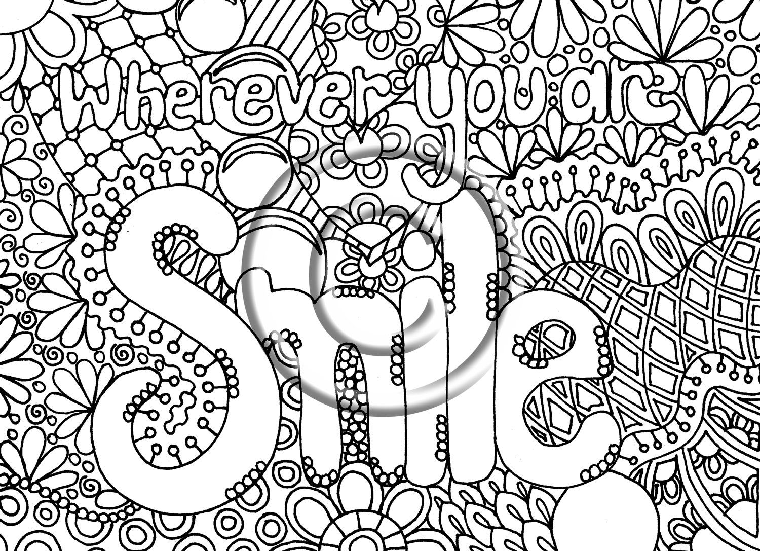 Digital download coloring page hand drawn zentangle for Free printable abstract coloring pages