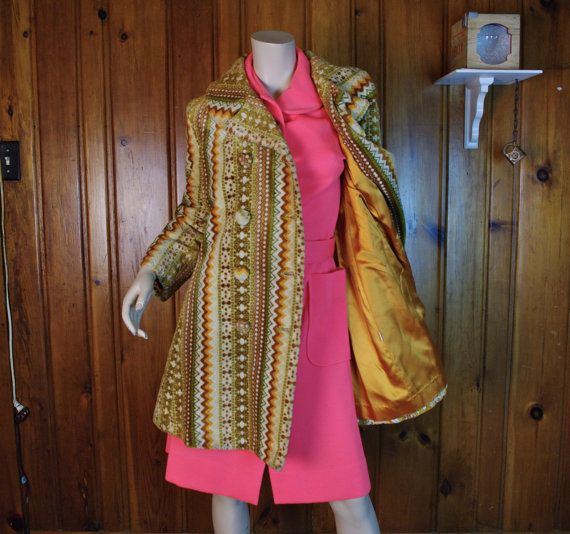 1960 S Carpet Jacket Chenille Tapestry Gold Tan Beige Floral Pea Coat Mod On Etsy Sold Red Leather Jacket Fashion Jackets