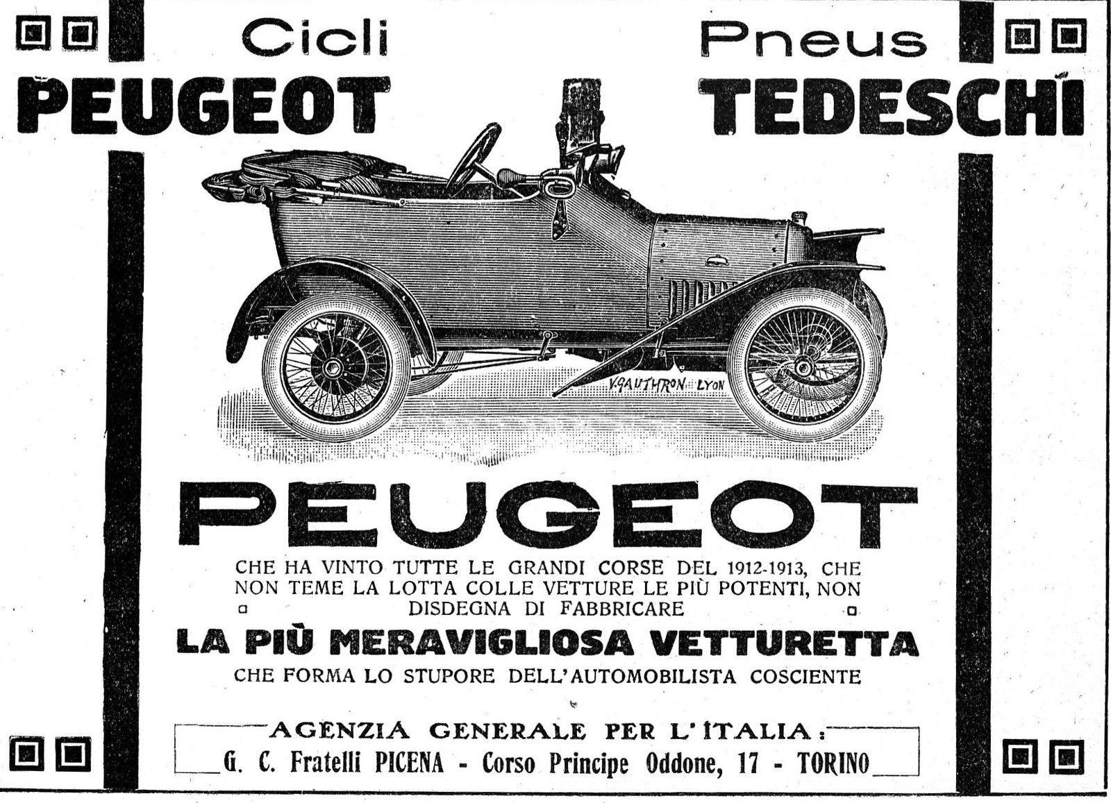 Pubblicita\' 1914 auto vetturetta peugeot grandi corse f.lli picena ...