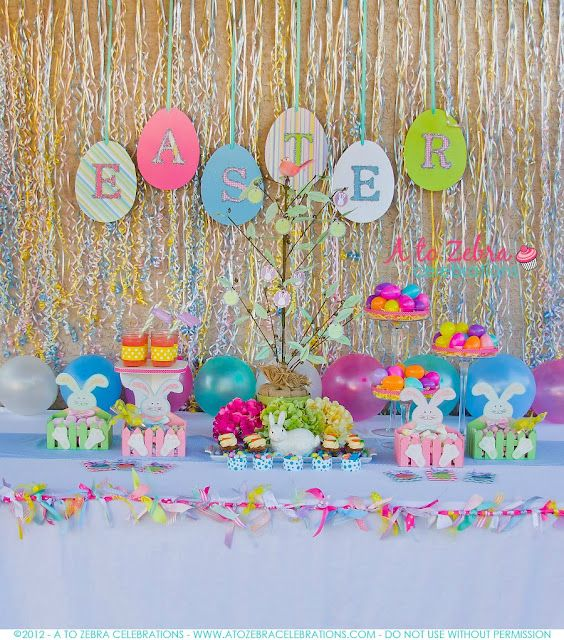 Super Cute Easter Party Love the curling ribbon back drop