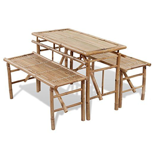 vidaXL Table de picnic / bière pliable en bambou avec 2 bancs Table ...
