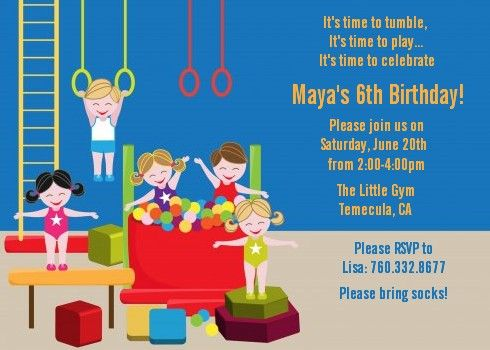 Tumble Gym - Birthday Party Invitations Party invitations - best of invitation wording for gymnastics party