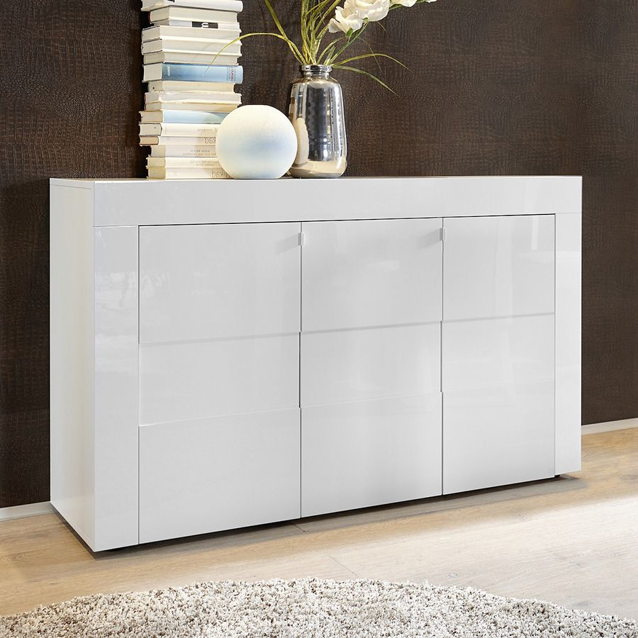 Bahut blanc laqué brillant design OKLAND 2 | Buffet - Bahut ...