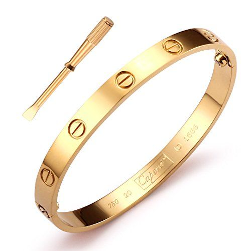 9cbfc5bf53e37 Stainless-Steel-Oval-Gold-Tone-Screw-Head-Bangle-Bracelet-with ...