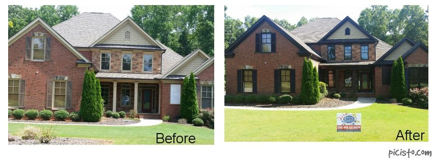 Great House In Flowery Branch. Customer Made All Of Their Trim Black Bean  SW 6006 · Sherwin Williams DurationBlack BeansPaint ColorsBrickExterior