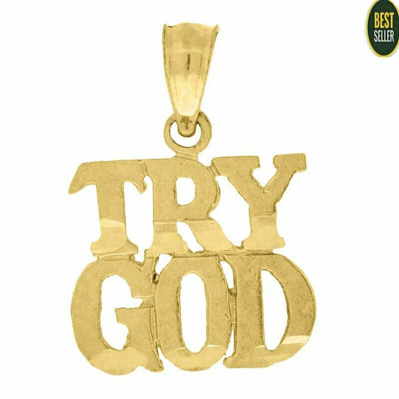 Details About Solid 10kt Yellow Gold Fashion Talking Try God Charm Pendant Small Tiny Gift In 2020 Personalized Monogram Necklace Tiny Gifts Sideways Initial Necklace