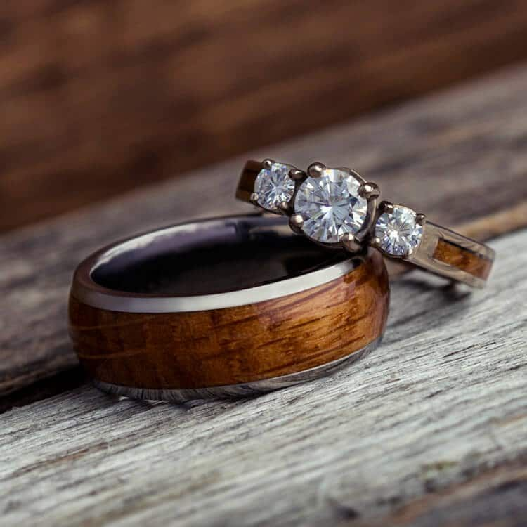 Wood Wedding Ring Set White Gold And Titanium Rings 3781 In 2020