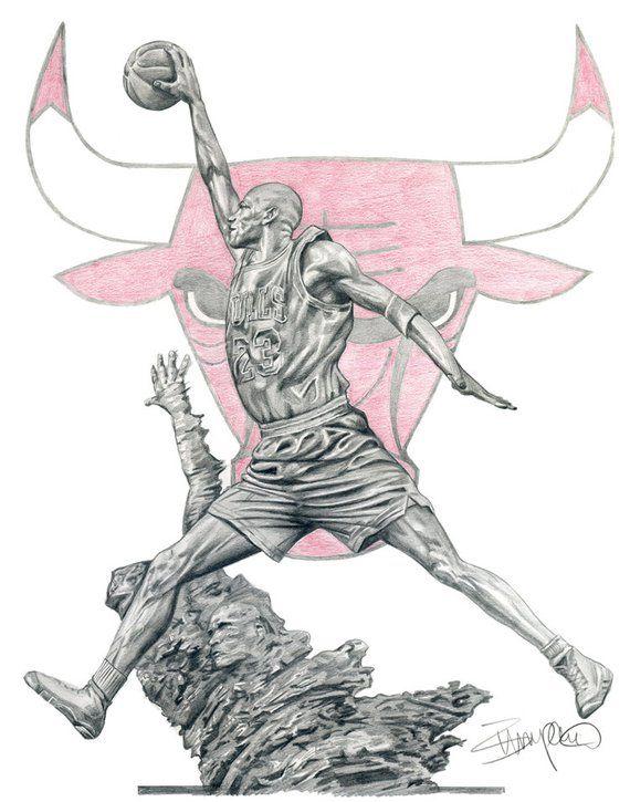 8d0f669de87f66 Michael Jordan Statue Chicago Bulls Pencil Drawing - 11x14