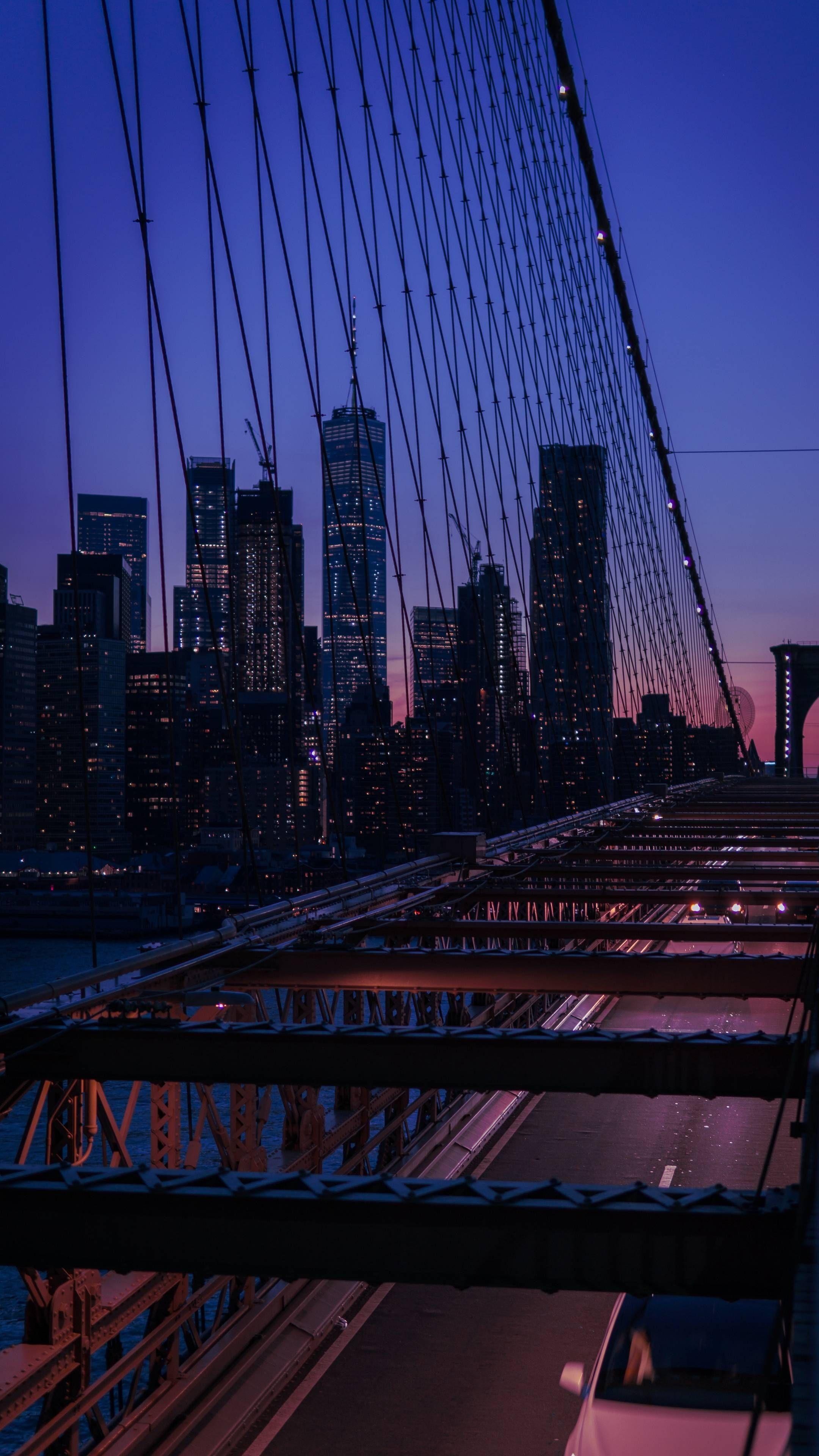 Download Iphone Xs Iphone Xs Max Iphone Xr Hd Wallpapers Bridge City Twilight Buildings Skyscrapers View O In 2021 New York Wallpaper Skyscraper City Wallpaper