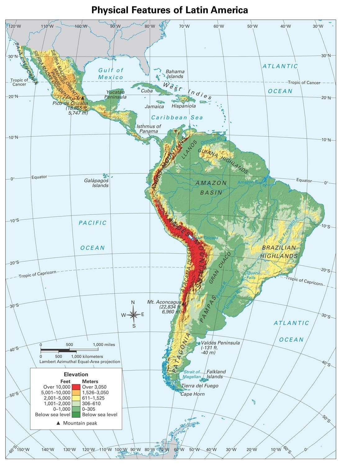 Physical Features Latin America Map South America Physical Features Map Blank | Latin america map
