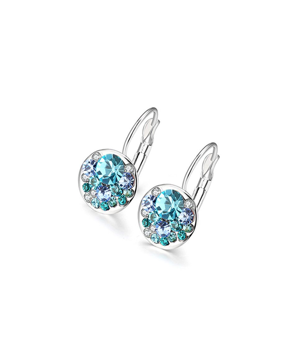 31356f925 Look at this #zulilyfind! Aqua Blue Cubic Zirconia & White Gold Huggie  Earrings by