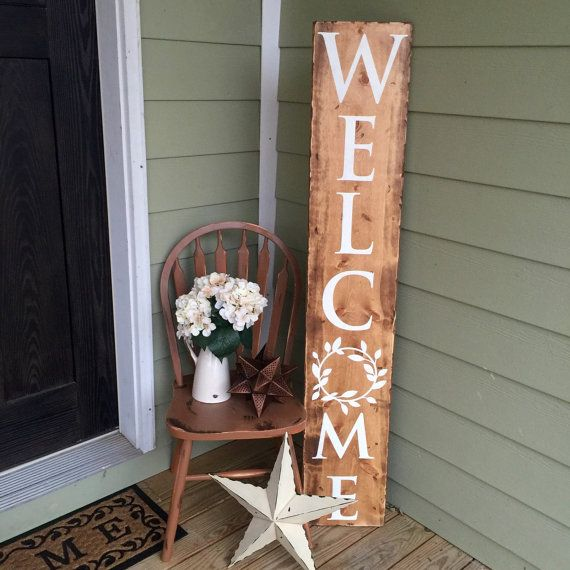 Reclaimed Wood Stand Up Welcome Sign Farmhouse Style Laurel Rustic Cream Wooden Front Porch Welcome Sign Farm Farmhouse Decor Country House Decor Decor