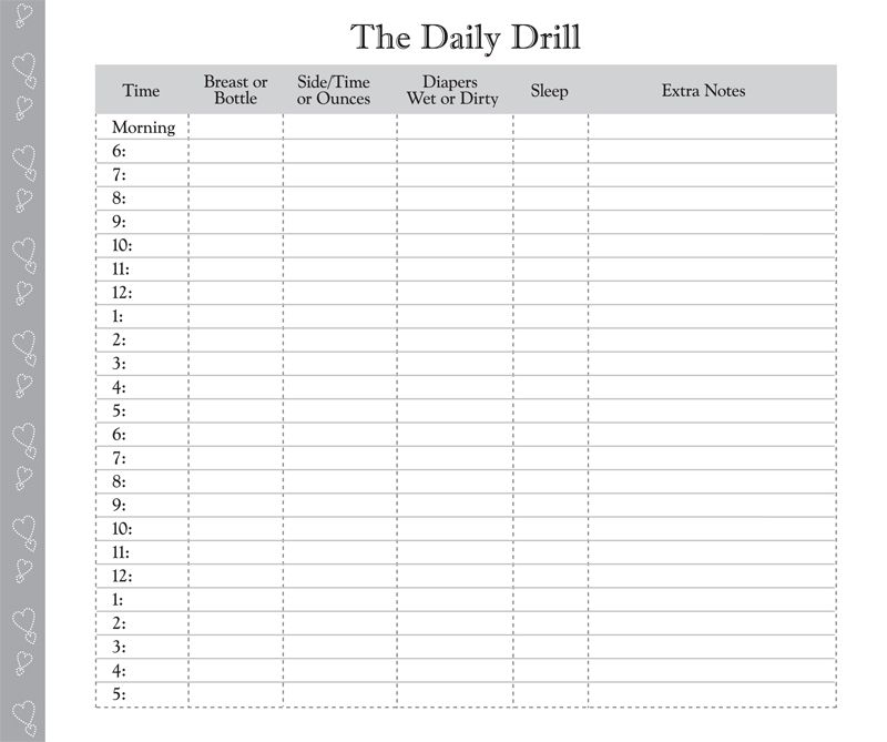 Printable Diaper Feeding Form Day in the Life Daily Log for - money note template