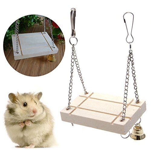 Delight Eshop Hamster Cage Toys Seesaw Wooden Swing Harness Parrot Pet Hanging Bell Suspension Visit The Image Link Mor Parrot Pet Hamster Small Animal Cage