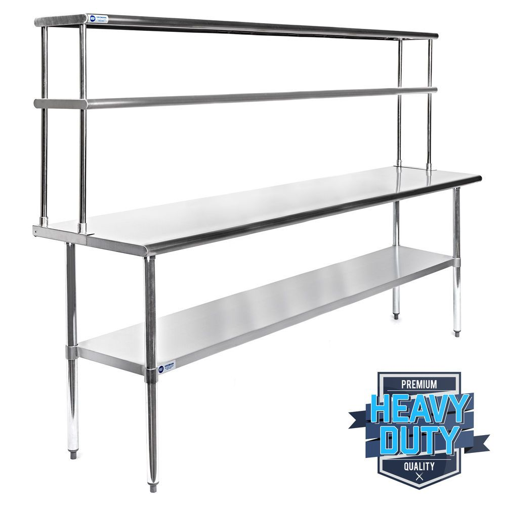 Stainless Steel Commercial Kitchen Prep Table With Double Overshelf 30 X 72 Kitchen Work Tables Kitchen Wall Units Kitchen Prep Table