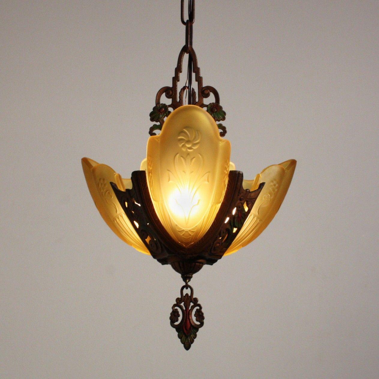 SOLD Splendid Antique ThreeLight Art Deco Slip Shade