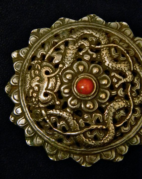Exceptional Bhutanese Silver Dragon Brooch Collectors by