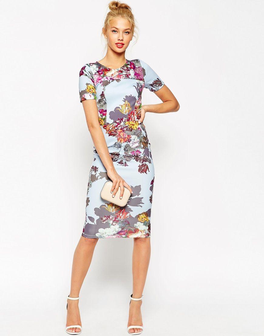 asos floral tshirt bodycon midi dress interviews