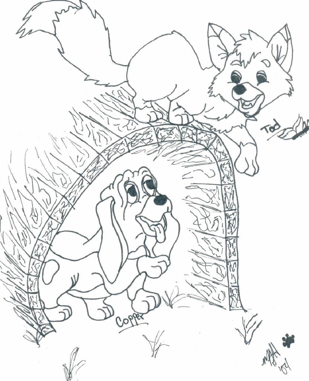 Fox And The Hound By Cutencuddlypadfoot On Deviantart Fox Coloring Page Disney Coloring Pages Coloring Pages