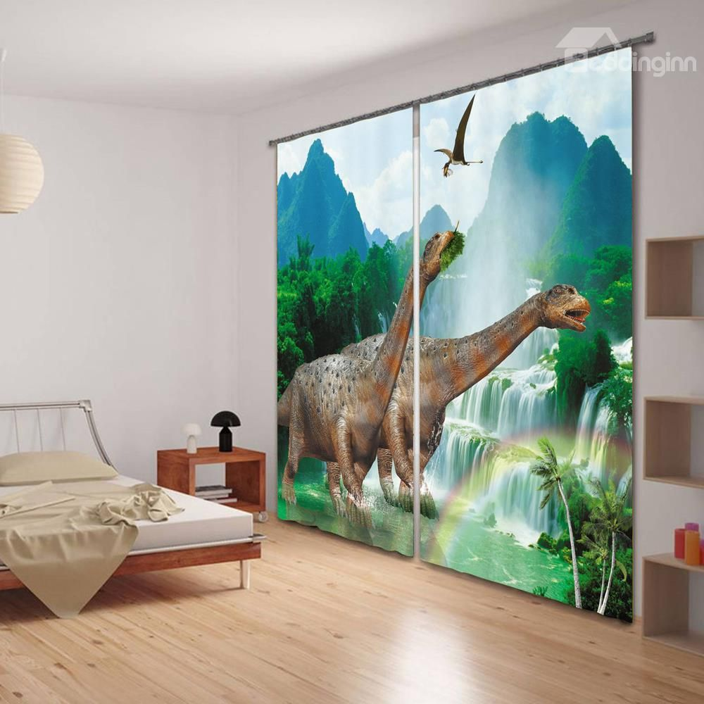 3d Two Dinosaurs Printed Thick Polyester Animals Style 2