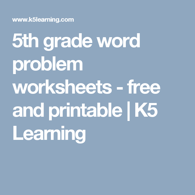 5th grade word problem worksheets - free and printable | K5 Learning ...