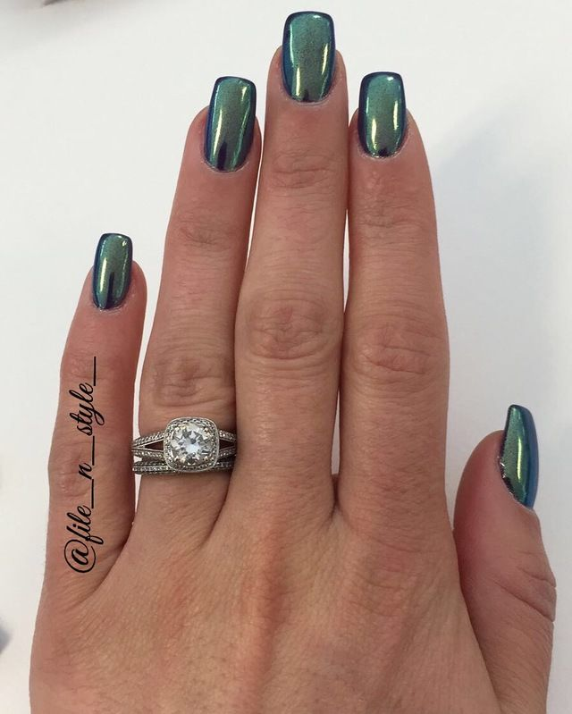 Green Chrome by File N Style | nails | Pinterest | Chrome, Filing ...