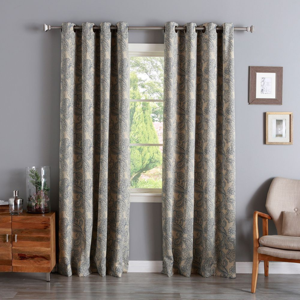 Aurora home paisley stitch printed blackout grommet top curtain